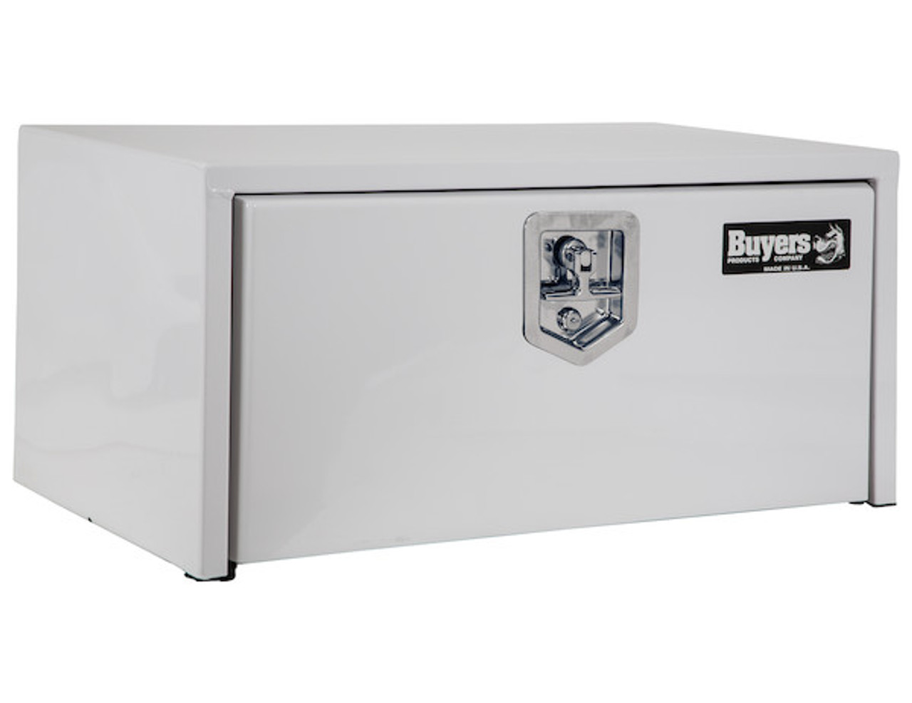 """1703404 BUYERS PRODUCTS WHITE STEEL UNDERBODY TRUCK TOOLBOX WITH BUILT-IN SHELF 14""""HX16""""DX30""""W Picture # 1"""