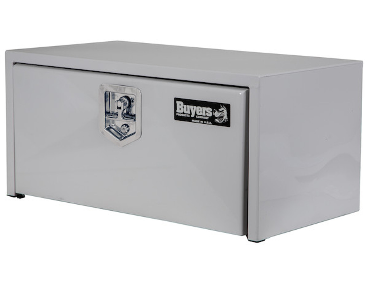 "1703404 BUYERS PRODUCTS WHITE STEEL UNDERBODY TRUCK TOOLBOX WITH BUILT-IN SHELF 14""HX16""DX30""W Picture # 3"