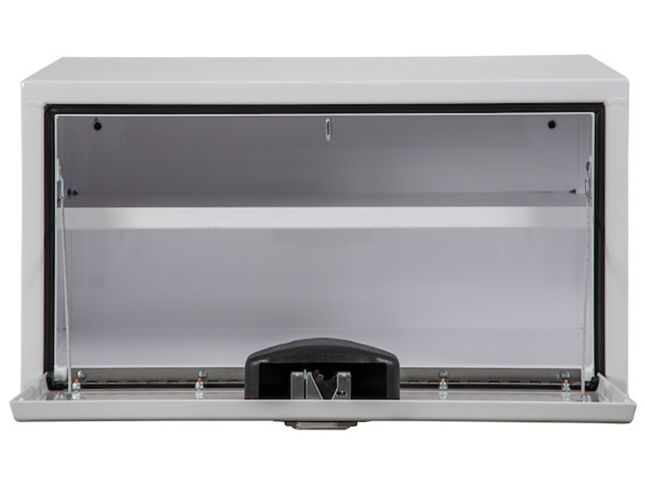 """1703404 BUYERS PRODUCTS WHITE STEEL UNDERBODY TRUCK TOOLBOX WITH BUILT-IN SHELF 14""""HX16""""DX30""""W Picture # 4"""