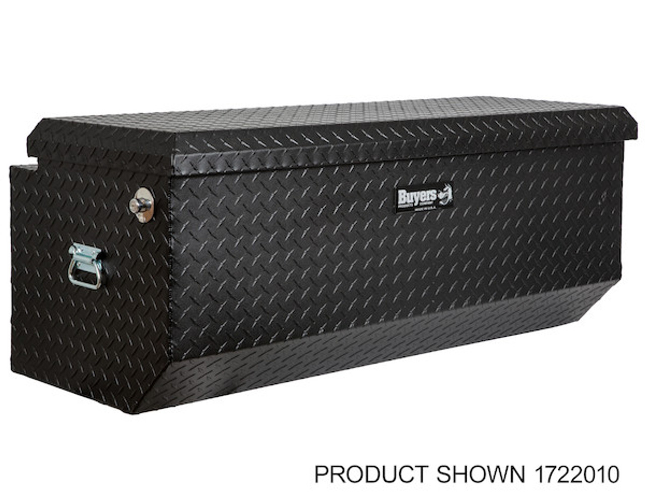 "1722010 BUYERS PRODUCTS TEXTURED MATTE BLACK DIAMOND TREAD ALUMINUM ALL-PURPOSE TOOLBOX WITH ANGLED BASE 19""HX20""DX47""W Picture # 1"