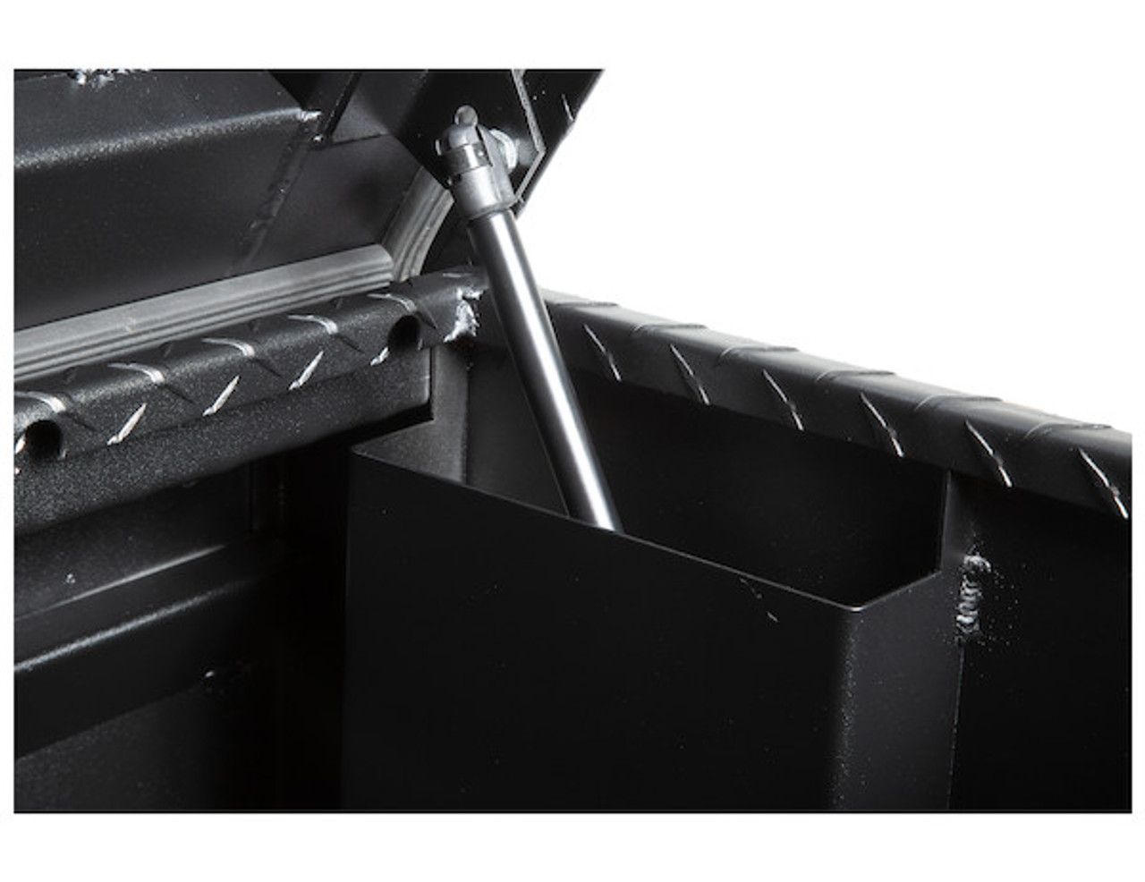 """1722010 BUYERS PRODUCTS TEXTURED MATTE BLACK DIAMOND TREAD ALUMINUM ALL-PURPOSE TOOLBOX WITH ANGLED BASE 19""""HX20""""DX47""""W Picture # 3"""