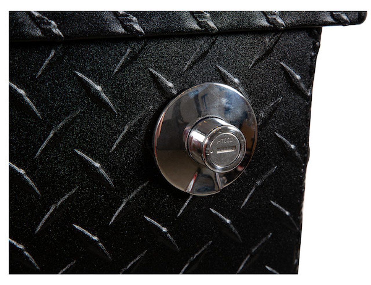 """1722010 BUYERS PRODUCTS TEXTURED MATTE BLACK DIAMOND TREAD ALUMINUM ALL-PURPOSE TOOLBOX WITH ANGLED BASE 19""""HX20""""DX47""""W Picture # 4"""