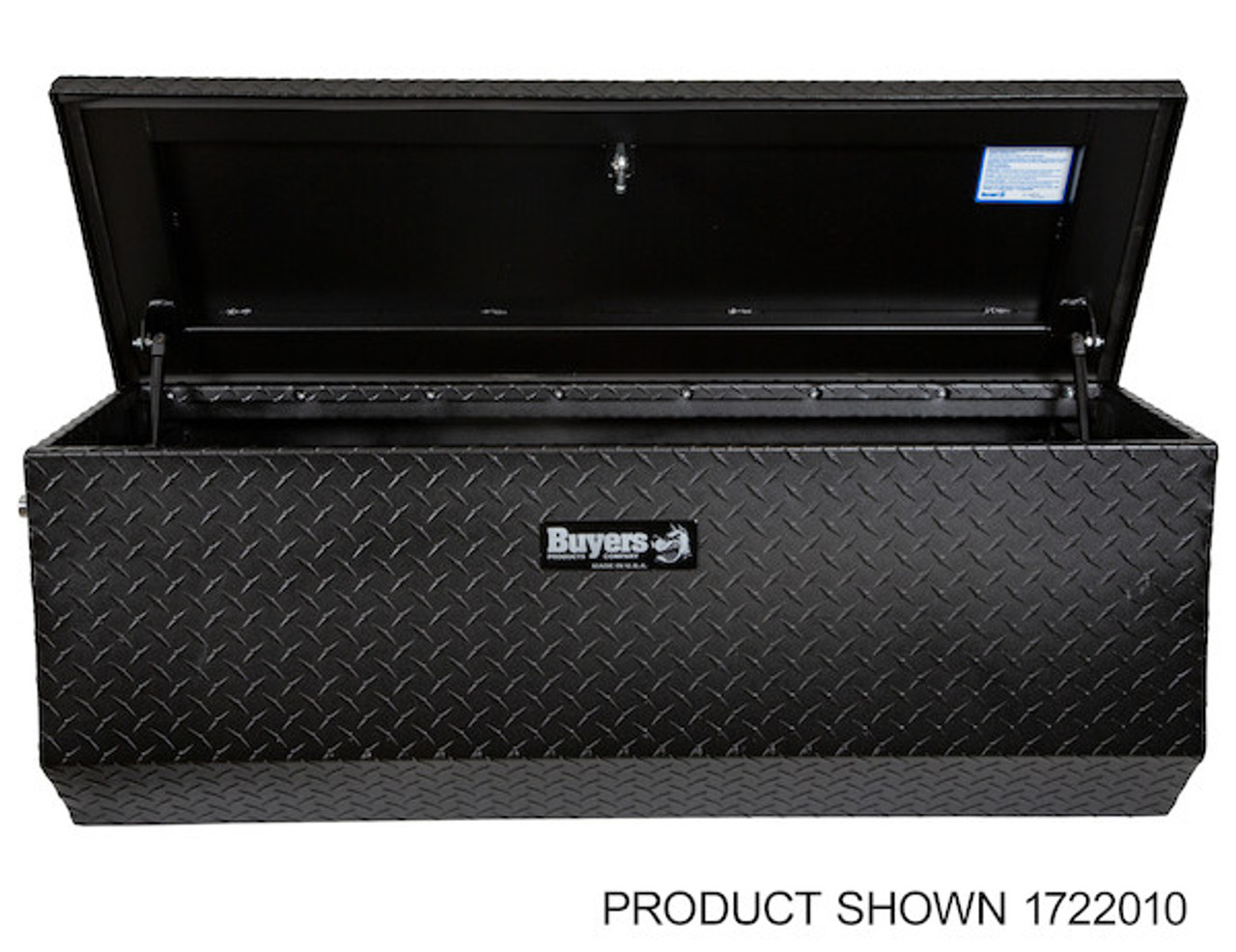 "1722010 BUYERS PRODUCTS TEXTURED MATTE BLACK DIAMOND TREAD ALUMINUM ALL-PURPOSE TOOLBOX WITH ANGLED BASE 19""HX20""DX47""W Picture # 6"