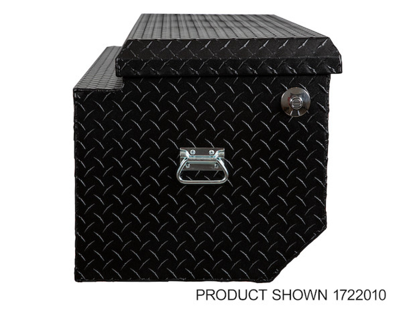 "1722010 BUYERS PRODUCTS TEXTURED MATTE BLACK DIAMOND TREAD ALUMINUM ALL-PURPOSE TOOLBOX WITH ANGLED BASE 19""HX20""DX47""W Picture # 7"