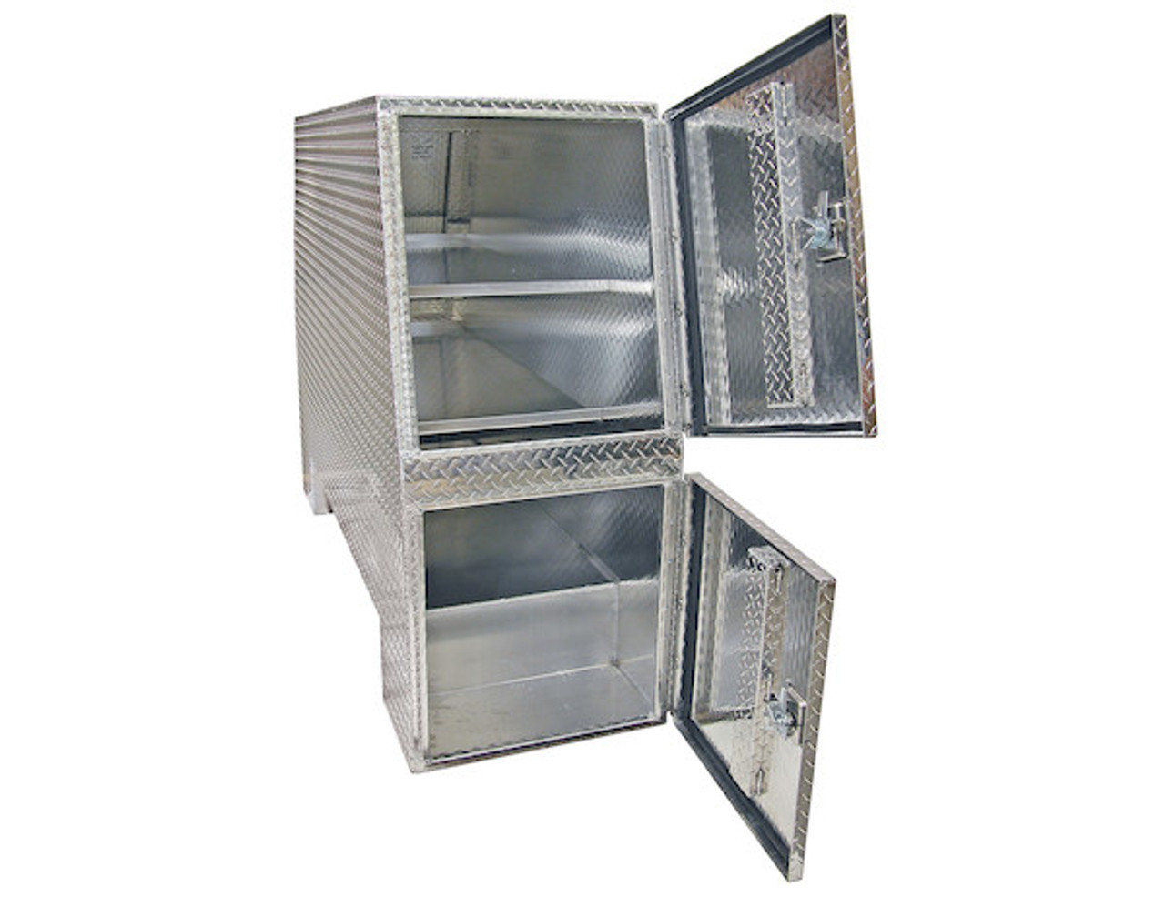 """BP827024 BUYERS PRODUCTS DIAMOND TREAD ALUMINUM BACKPACK TOOLBOX WITH OFFSET FLOOR 70""""Hx24""""Dx82""""W  Picture # 3"""