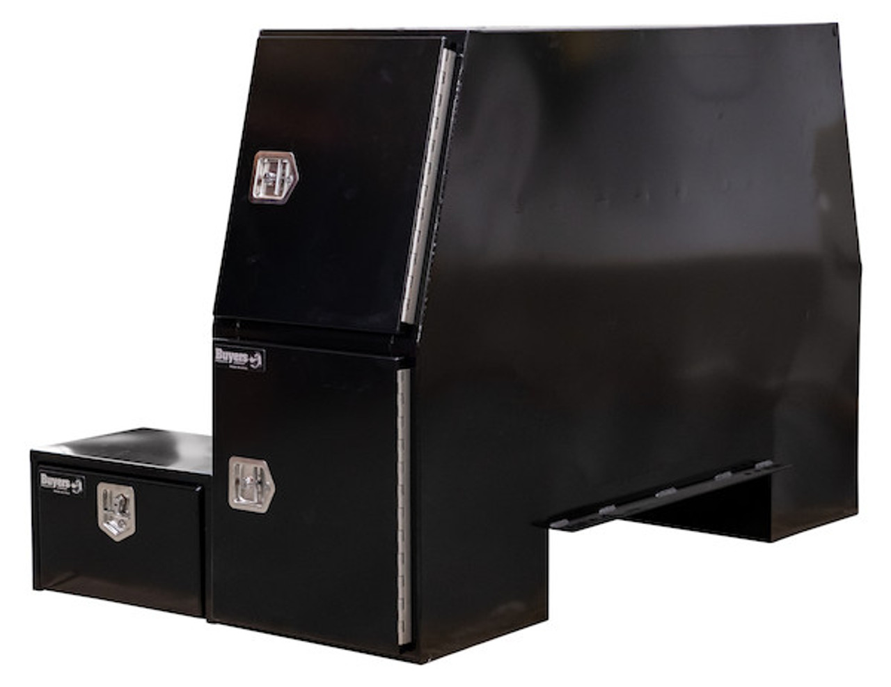 "BP855548B BUYERS BLACK STEEL L-PACK TRUCK BOX WITH OFFSET FLOOR 55""Hx48""Dx85""W Picture # 2"
