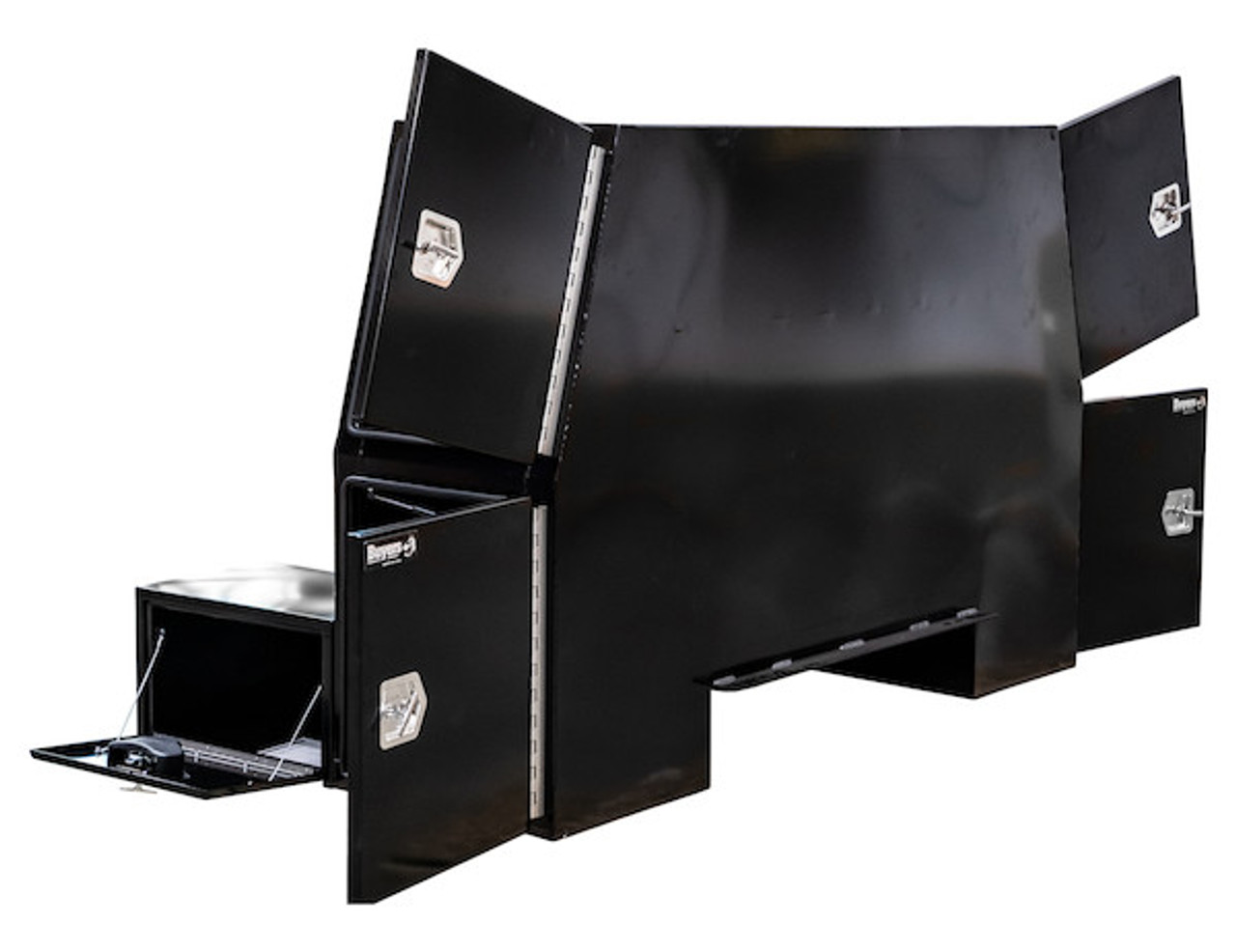 """BP855548B BUYERS BLACK STEEL L-PACK TRUCK BOX WITH OFFSET FLOOR 55""""Hx48""""Dx85""""W Picture # 3"""