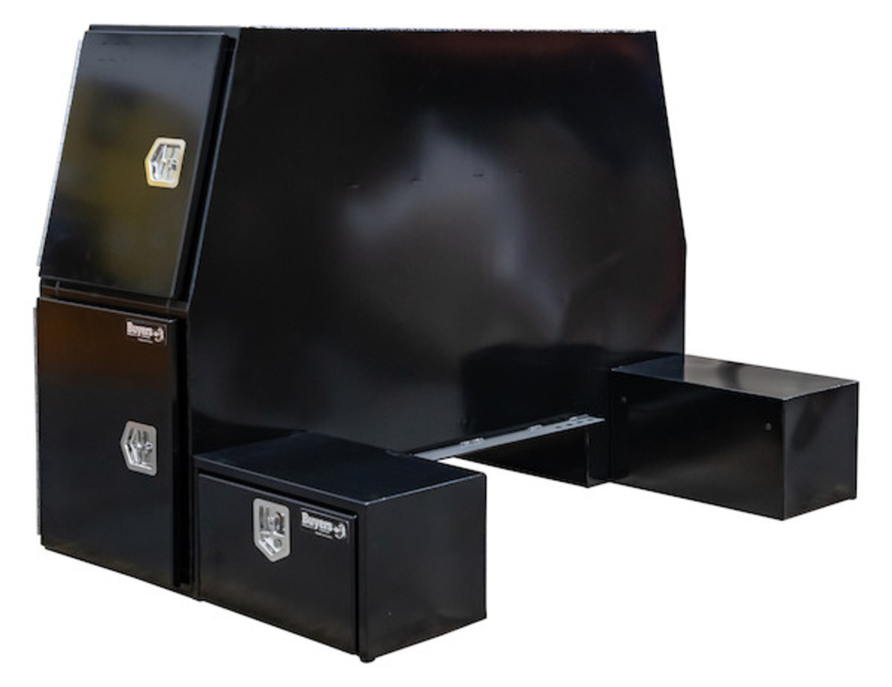 """BP855548B BUYERS BLACK STEEL L-PACK TRUCK BOX WITH OFFSET FLOOR 55""""Hx48""""Dx85""""W Picture # 1"""