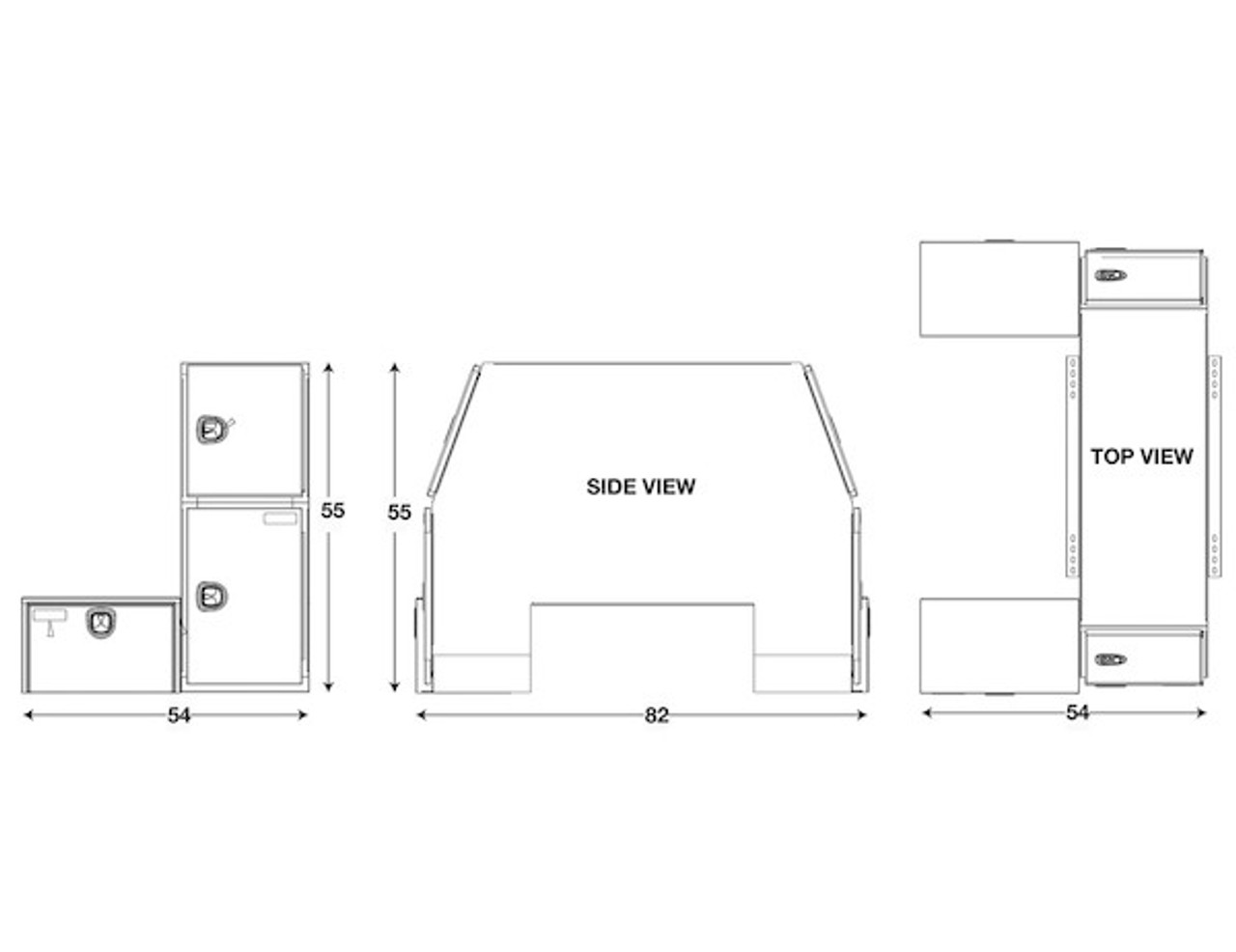 """BP855548W BUYERS WHITE STEEL L-PACK TRUCK BOX WITH OFFSET FLOOR 55""""Hx48""""Dx85""""W Picture # 2"""