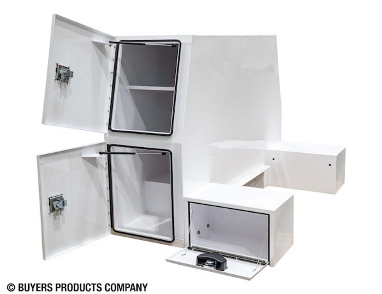 """BP855548W BUYERS WHITE STEEL L-PACK TRUCK BOX WITH OFFSET FLOOR 55""""Hx48""""Dx85""""W Picture #"""