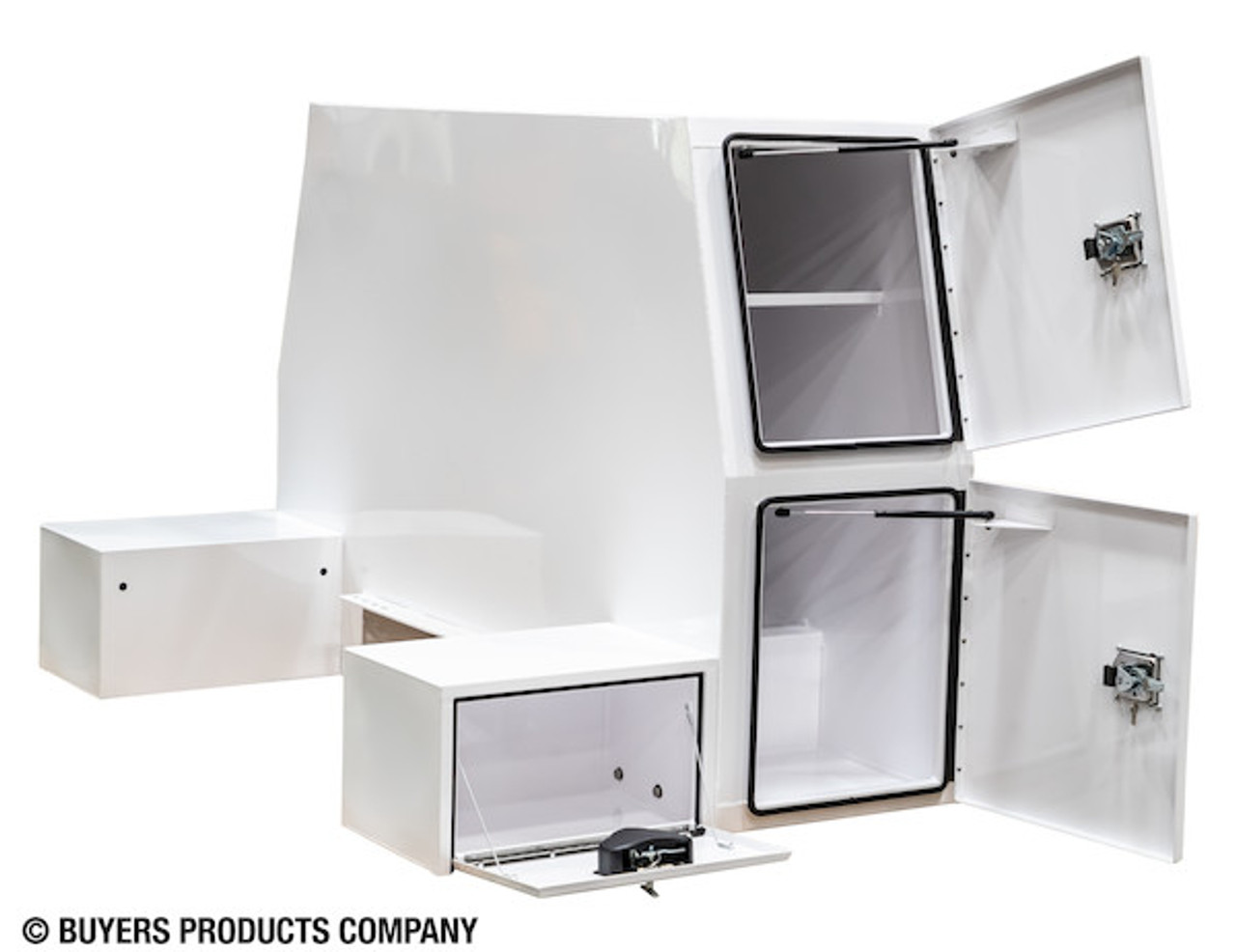 """BP855548W BUYERS WHITE STEEL L-PACK TRUCK BOX WITH OFFSET FLOOR 55""""Hx48""""Dx85""""W Picture # 3"""