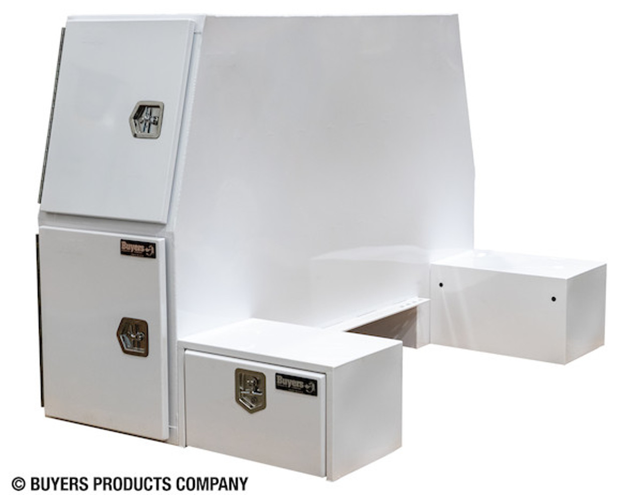 """BP855548W BUYERS WHITE STEEL L-PACK TRUCK BOX WITH OFFSET FLOOR 55""""Hx48""""Dx85""""W Picture # 1"""