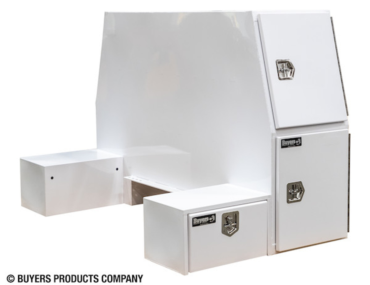 """BP855548W BUYERS WHITE STEEL L-PACK TRUCK BOX WITH OFFSET FLOOR 55""""Hx48""""Dx85""""W Picture # 4"""