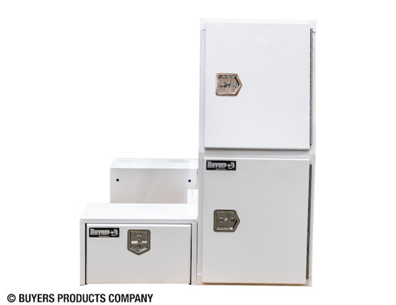 """BP855548W BUYERS WHITE STEEL L-PACK TRUCK BOX WITH OFFSET FLOOR 55""""Hx48""""Dx85""""W Picture # 8"""