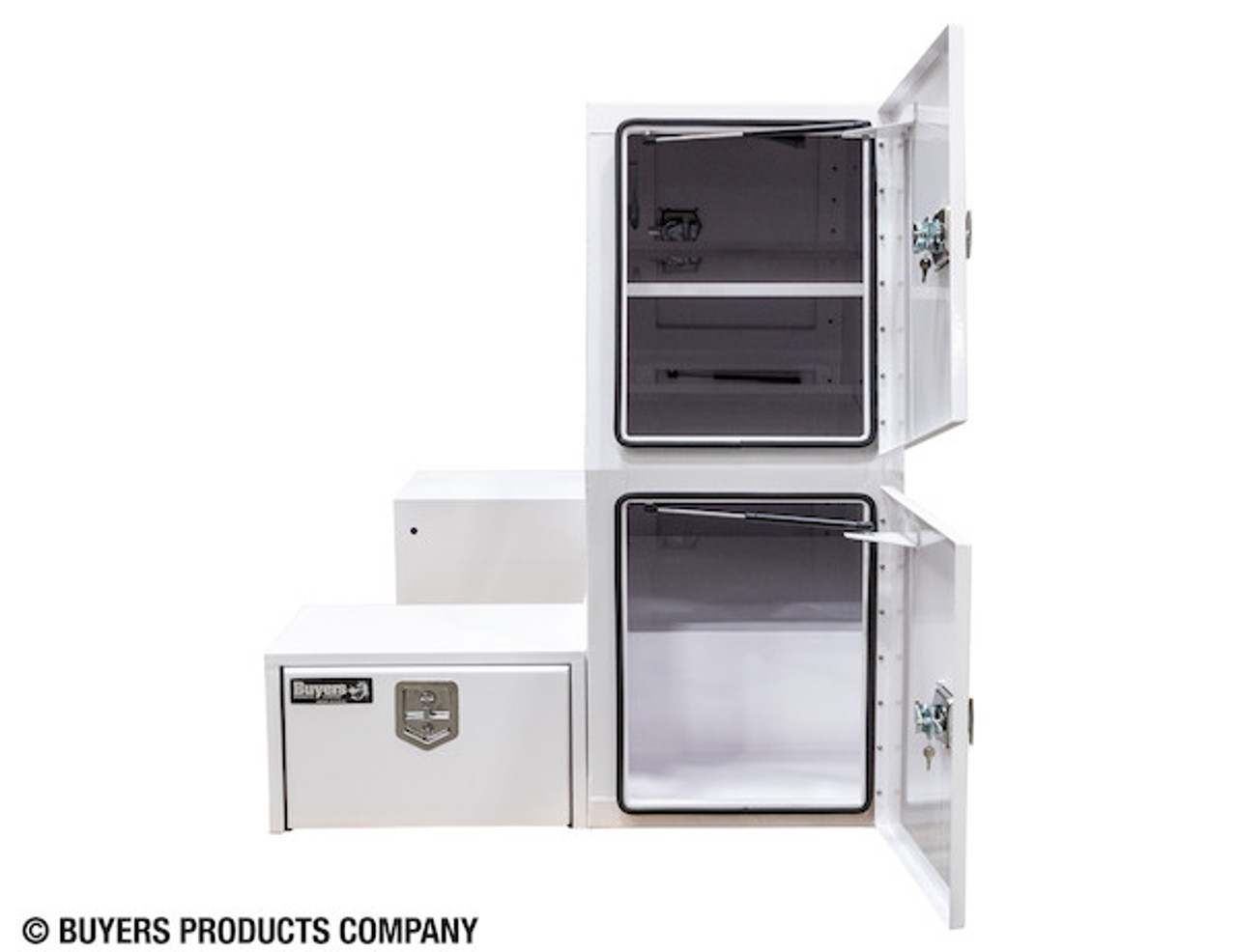 """BP855548W BUYERS WHITE STEEL L-PACK TRUCK BOX WITH OFFSET FLOOR 55""""Hx48""""Dx85""""W Picture # 9"""