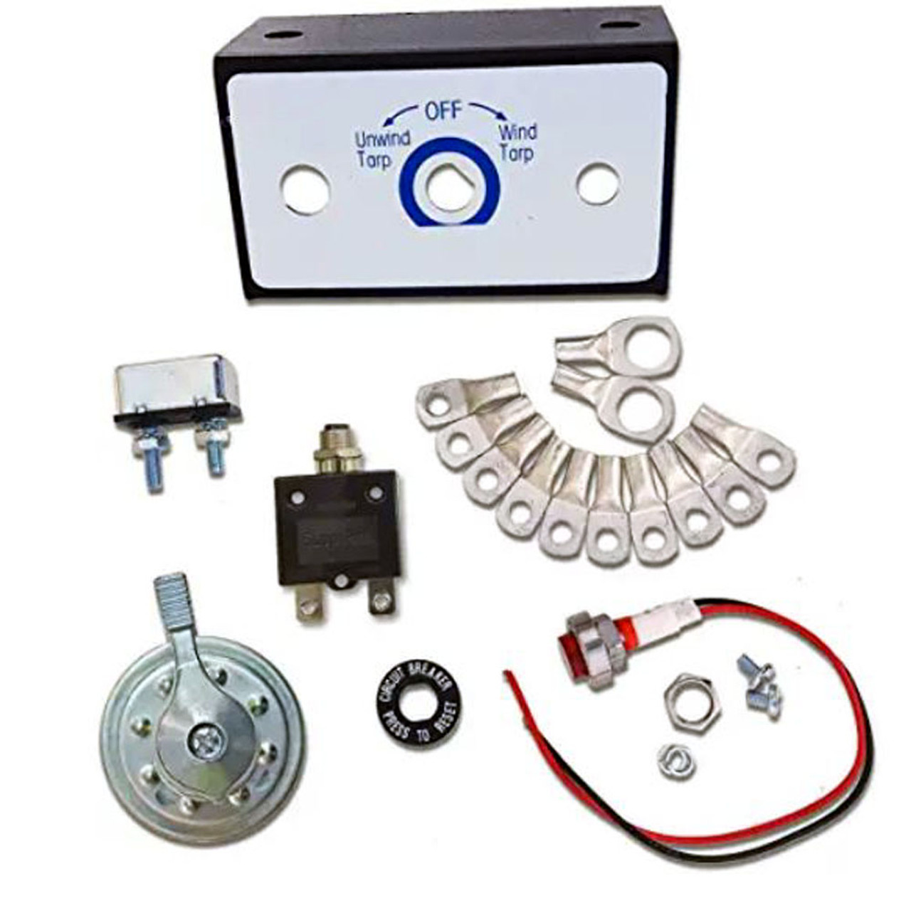 ALL TRUCK PRODUCTS TARP MOTOR ROTARY SWITCH KIT w/CIRCUIT BREAKER and INDICATOR LIGHT 12VDC 50 Amps