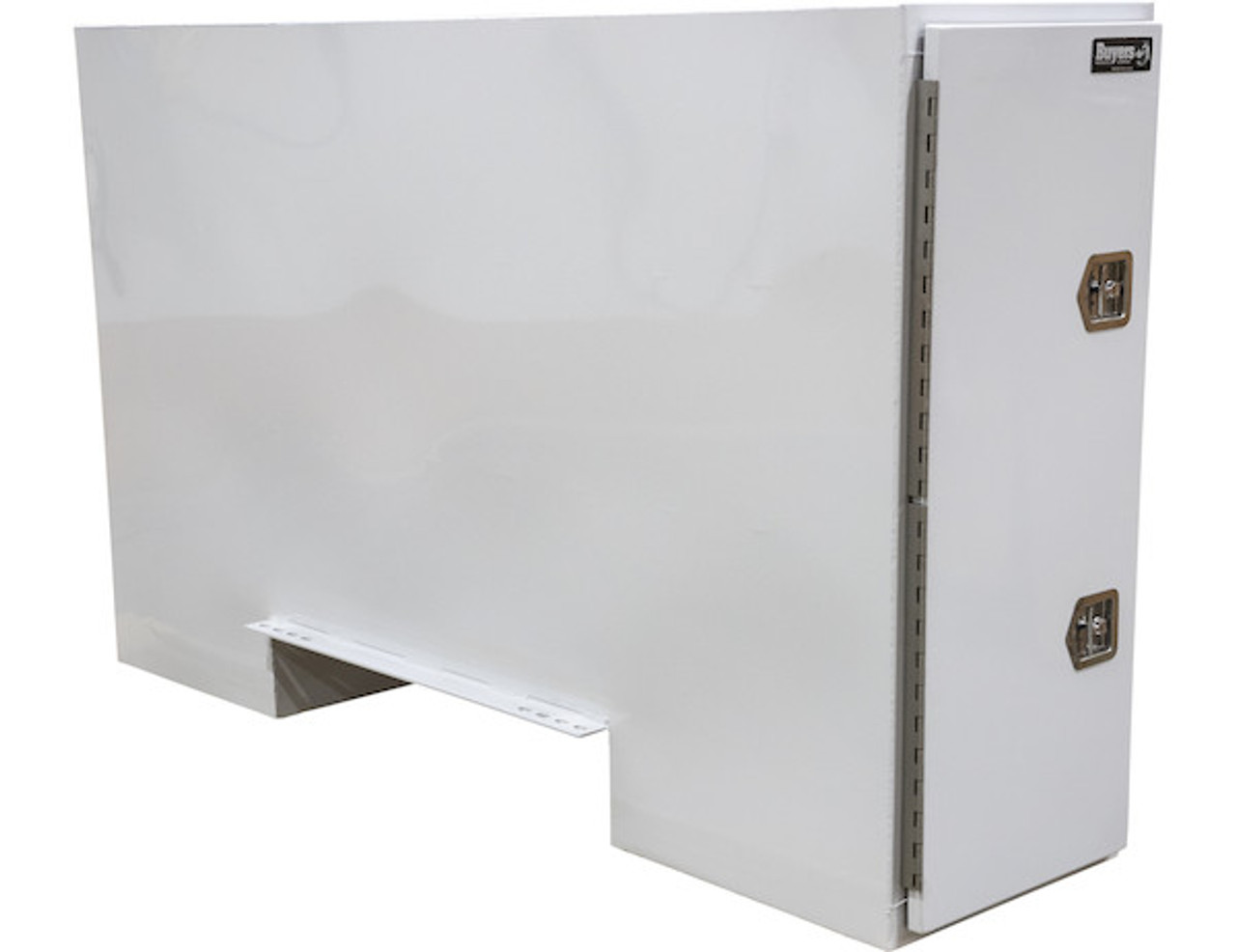 """BP965724W BUYERS WHITE STEEL STRAIGHT SIDE BACKPACK TRUCK TOOL BOX WITH OFFSET FLOOR 57""""HX24""""DX96""""W PICTURE # 1"""