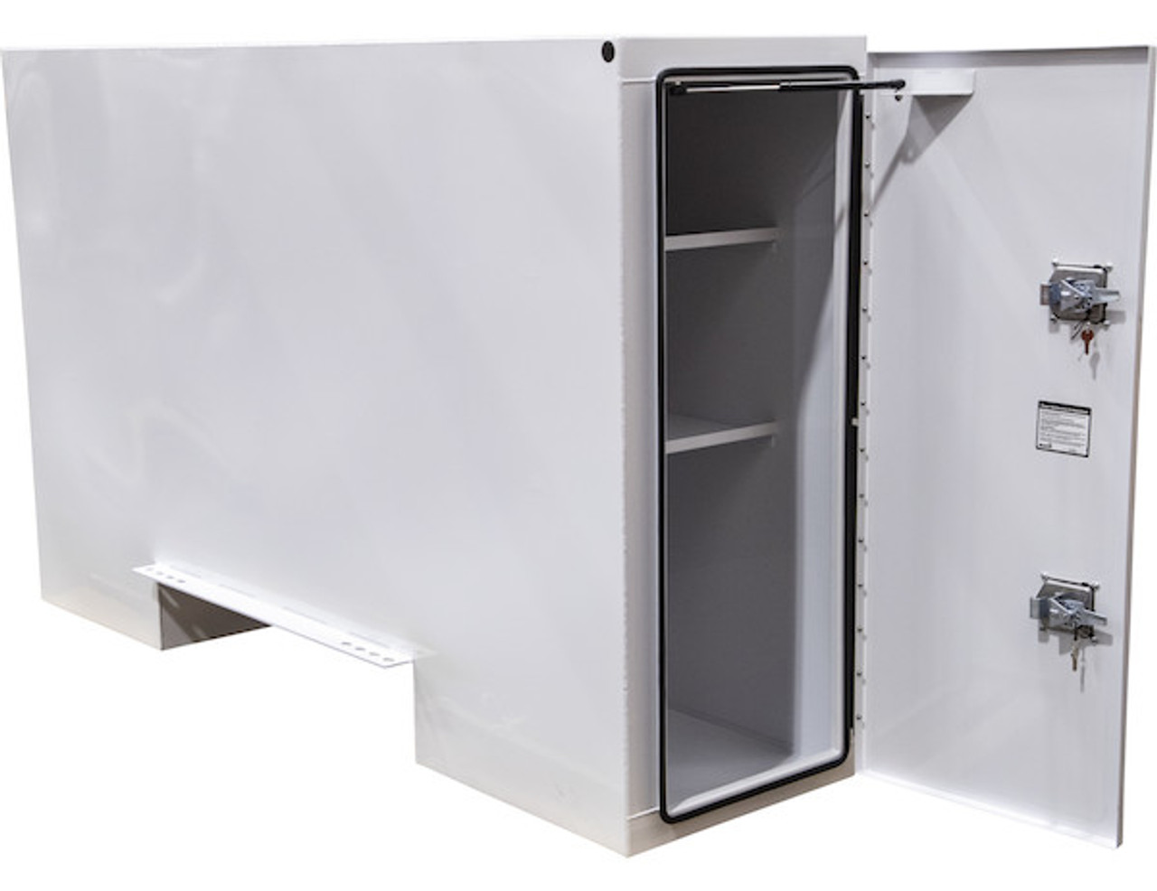 """BP965724W BUYERS WHITE STEEL STRAIGHT SIDE BACKPACK TRUCK TOOL BOX WITH OFFSET FLOOR 57""""HX24""""DX96""""W PICTURE # 3"""