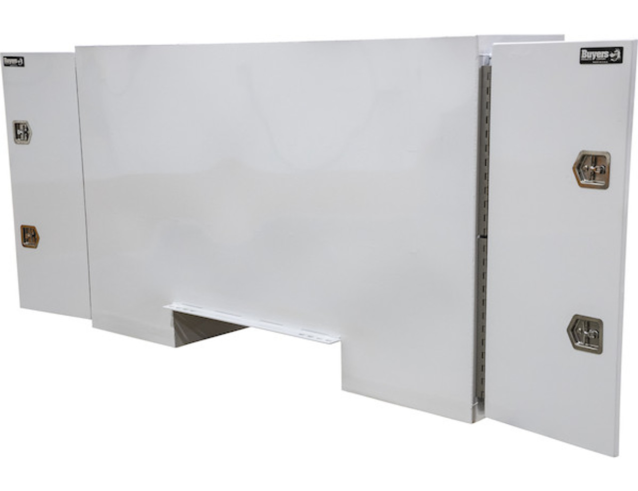 """BP965724W BUYERS WHITE STEEL STRAIGHT SIDE BACKPACK TRUCK TOOL BOX WITH OFFSET FLOOR 57""""HX24""""DX96""""W PICTURE # 4"""
