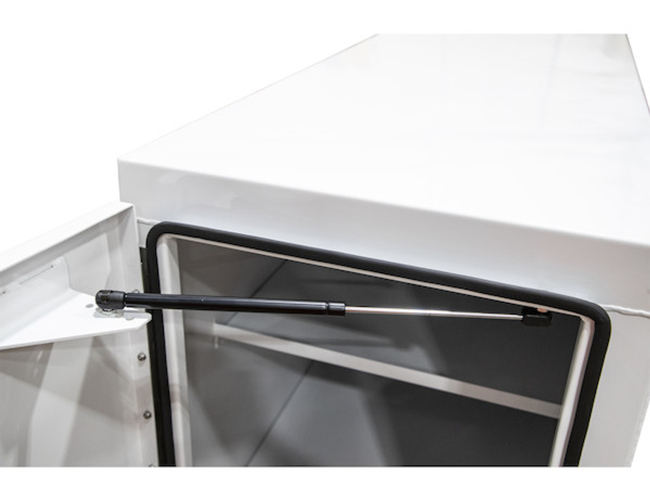 """BP965724W BUYERS WHITE STEEL STRAIGHT SIDE BACKPACK TRUCK TOOL BOX WITH OFFSET FLOOR 57""""HX24""""DX96""""W PICTURE # 6"""