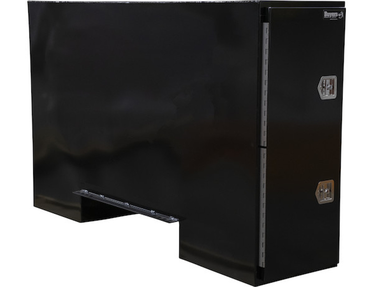 "BP965724B BUYERS BLACK STEEL STRAIGHT SIDE BACKPACK TRUCK TOOL BOX WITH OFFSET FLOOR 57""HX24""DX96""W PICTURE # 1"