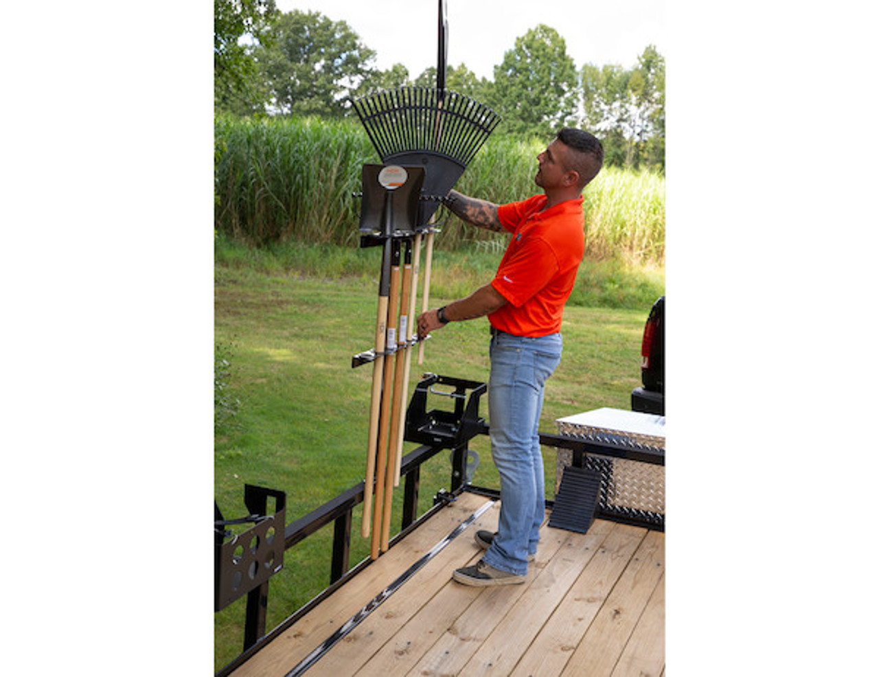 Buyers LT35 Vertical Hand Tool Rack for Landscaping Trailers, Garages, Sheds, Construction Vehicles Picture # 5