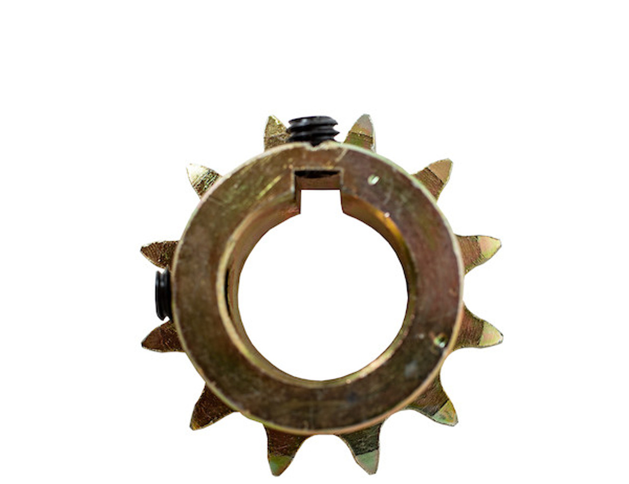 BUYERS 1411915 Replacement 1 Inch 12-Tooth Yellow Zinc Engine Sprocket With Set Screws For #40 Chain For SaltDogg Salt Spreader 1