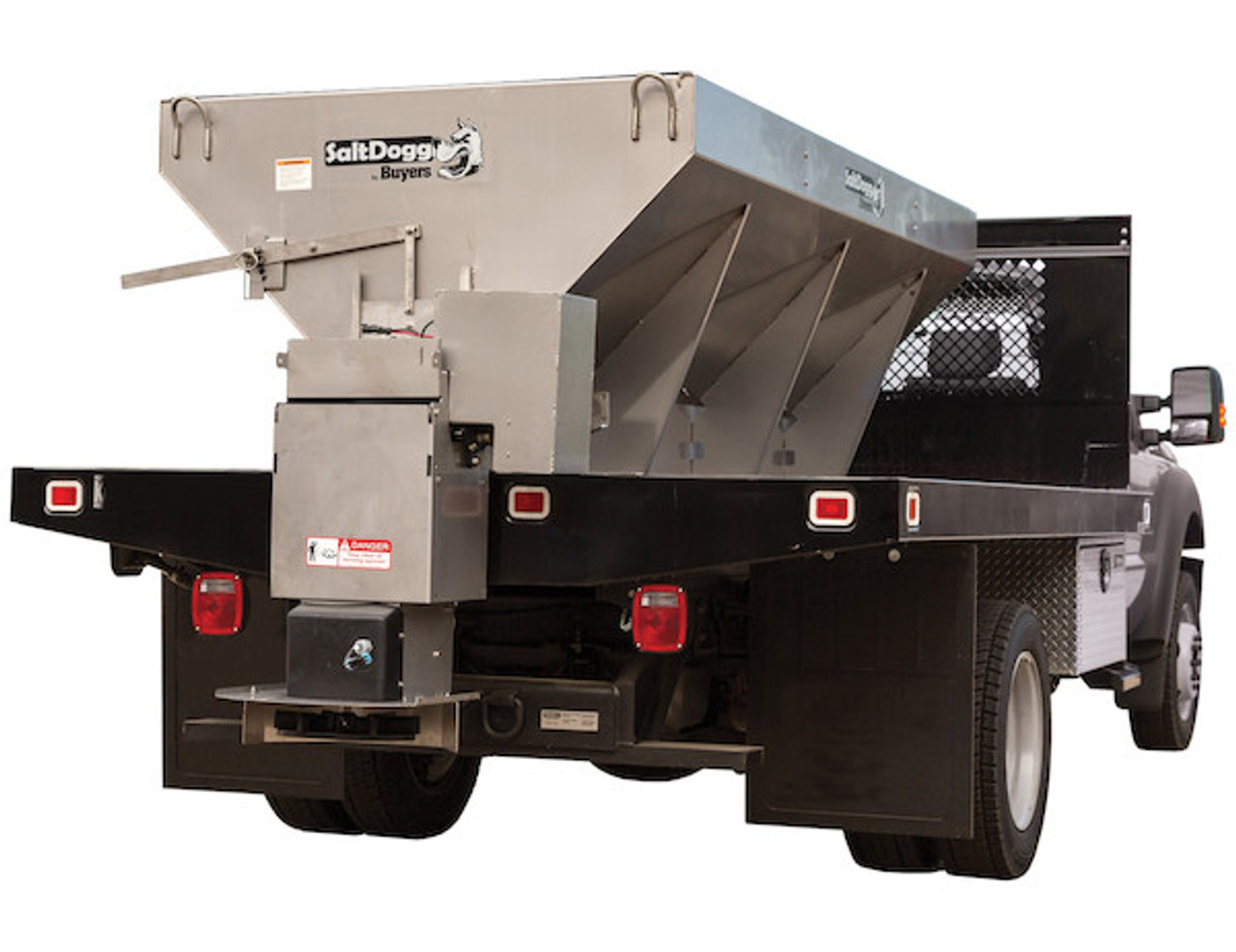 1400455SSE BUYERS SALTDOGG 2.5 CUBIC YARD ELECTRIC CONVEYOR CHAIN SALT SPREADER PARISSUPPLY PARIS SUPPLY SALT
