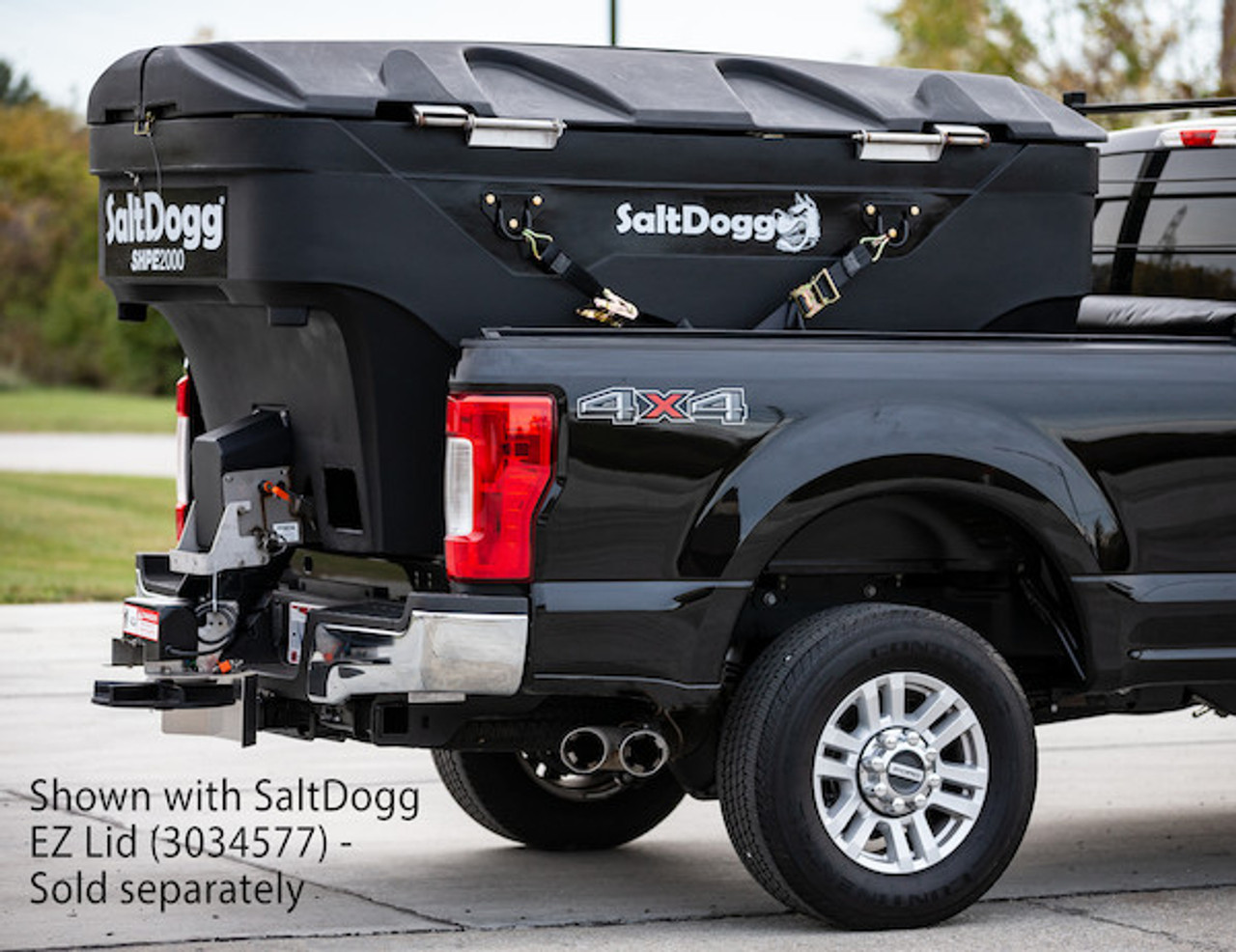 SHPE2000 BUYERS SALTDOGG ELECTRIC POLY HOPPER SPREADER WITH LID  (LID SOLD SEPARATELY)