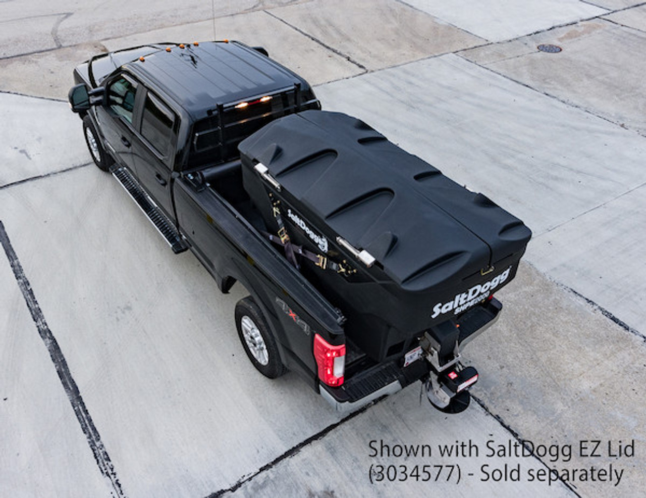 SHPE2000 BUYERS SaltDogg 2.0 Cubic Yard Electric Black Poly Hopper Spreader WITH LID 10 (LID SOLD SEPARATELY)
