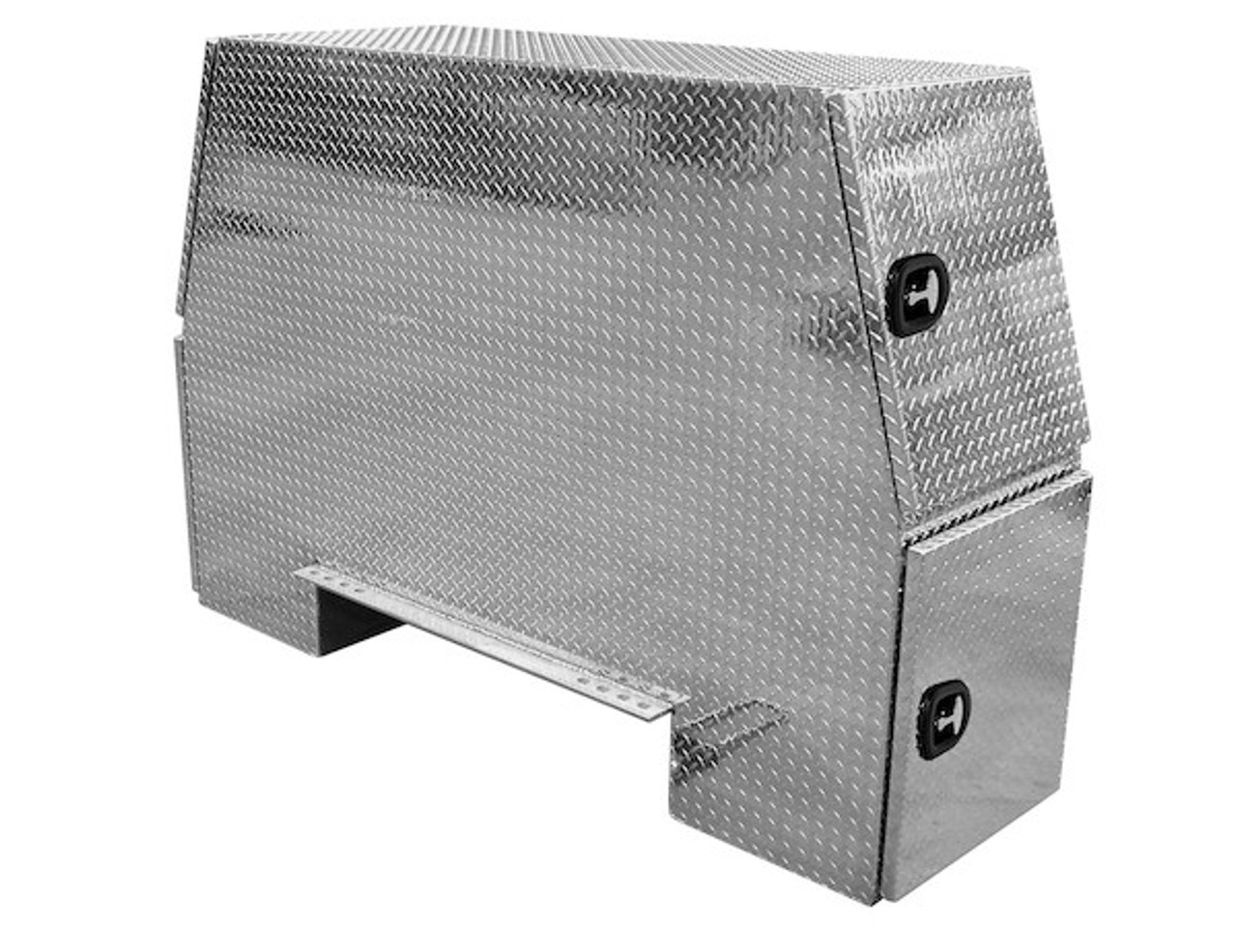 """BP826224 BUYERS PRODUCTS DIAMOND TREAD ALUMINUM BACKPACK TOOLBOX WITH OFFSET FLOOR 62""""Hx24""""Dx82""""W"""