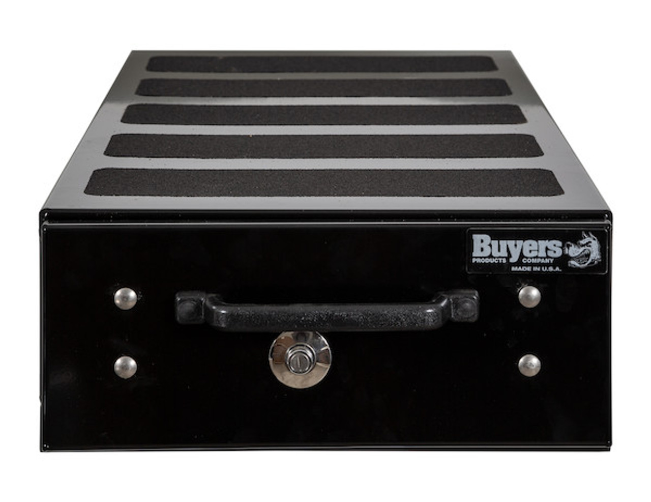 """1718310 BUYERS SMOOTH BLACK ALUMINUM SLIDE OUT TRUCK BED TOOLBOX 9""""Hx48""""Dx20""""W"""