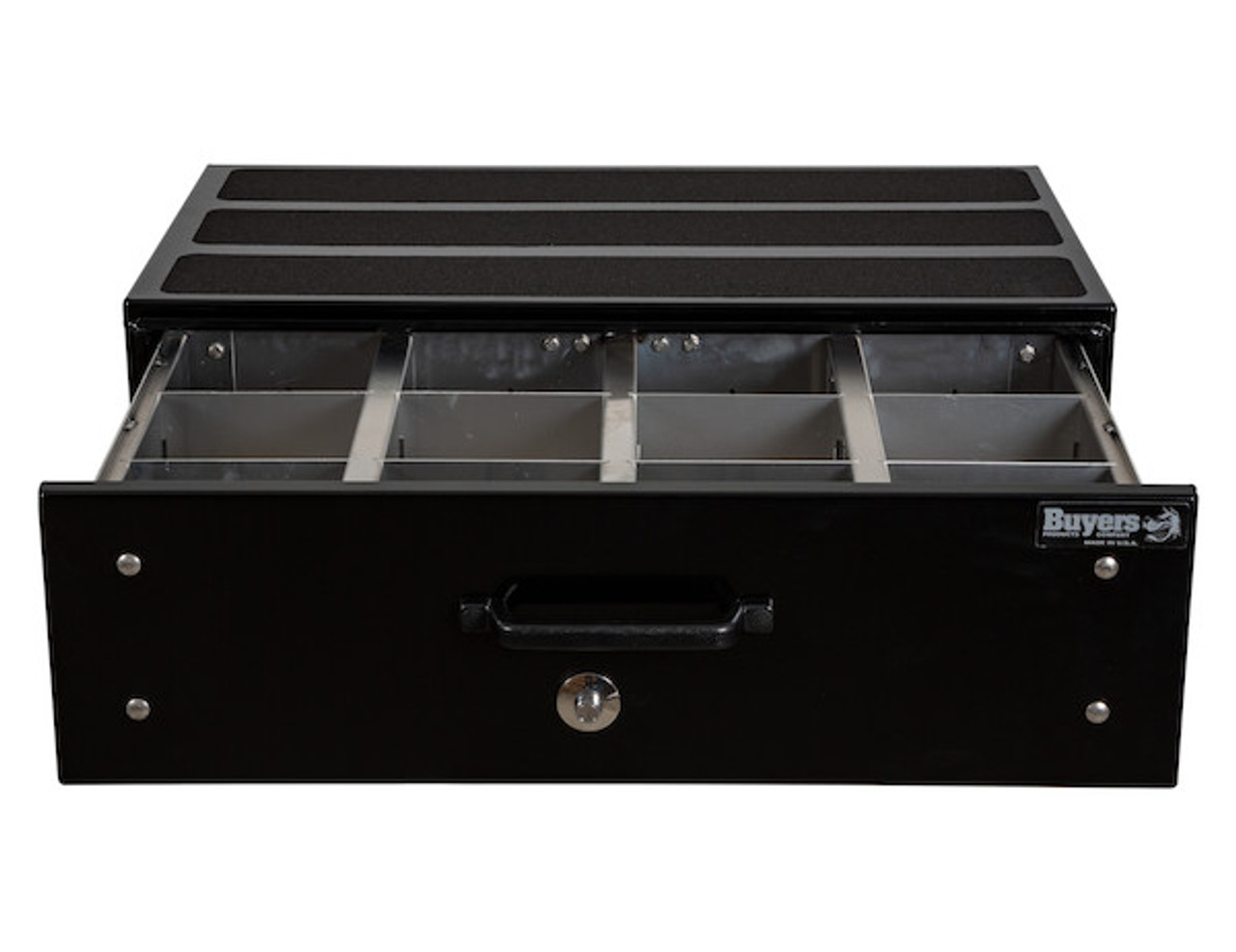 "1718320 BUYERS SMOOTH BLACK ALUMINUM SLIDE OUT TRUCK BED TOOLBOX 12""Hx24""Dx40""W"