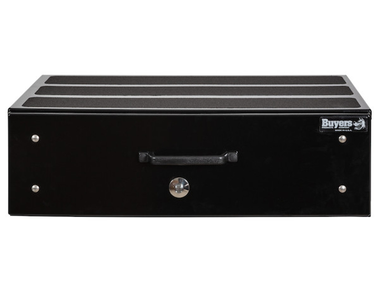"1718320 BUYERS SMOOTH BLACK ALUMINUM SLIDE OUT TRUCK BED TOOLBOX 12""Hx24""Dx40""W PICTURE # 5"