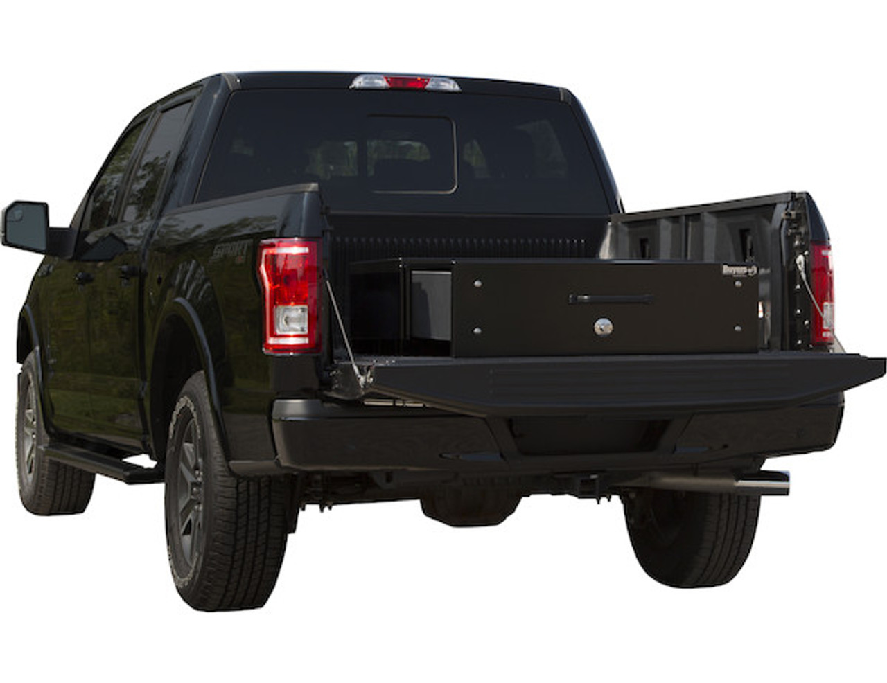 """1718330 BUYERS SMOOTH BLACK ALUMINUM SLIDE OUT TRUCK BED TOOLBOX 12""""Hx48""""Dx40""""W"""