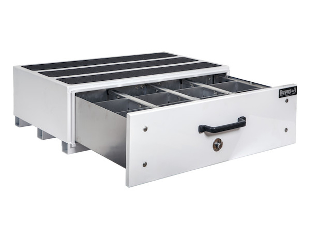 """1718420 BUYERS SMOOTH WHITE ALUMINUM SLIDE OUT TRUCK BED TOOLBOX 12""""Hx24""""Dx40""""W"""