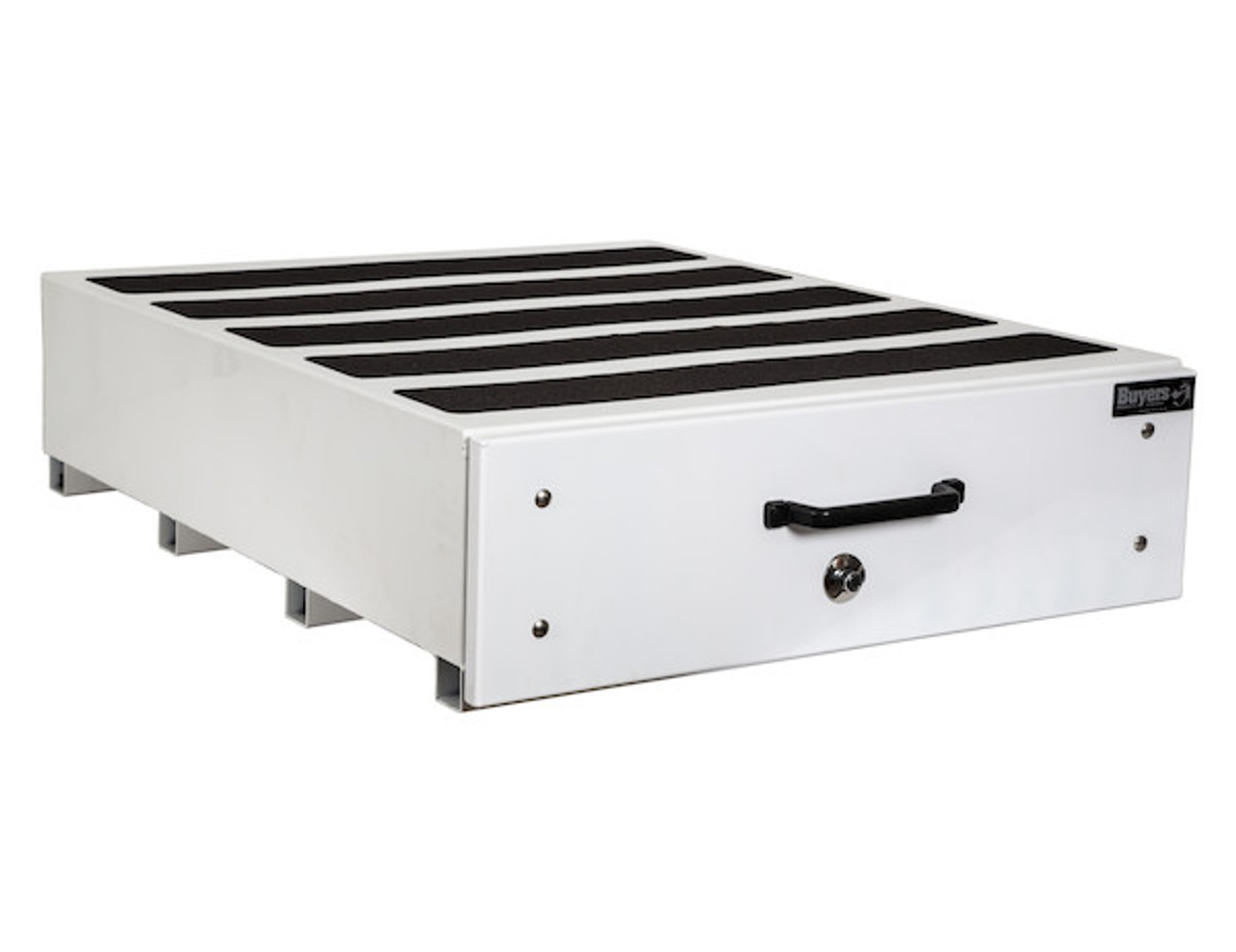 """1718430 BUYERS SMOOTH WHITE ALUMINUM SLIDE OUT TRUCK BED TOOLBOX 12""""Hx48""""Dx40""""W PICTURE # 1"""