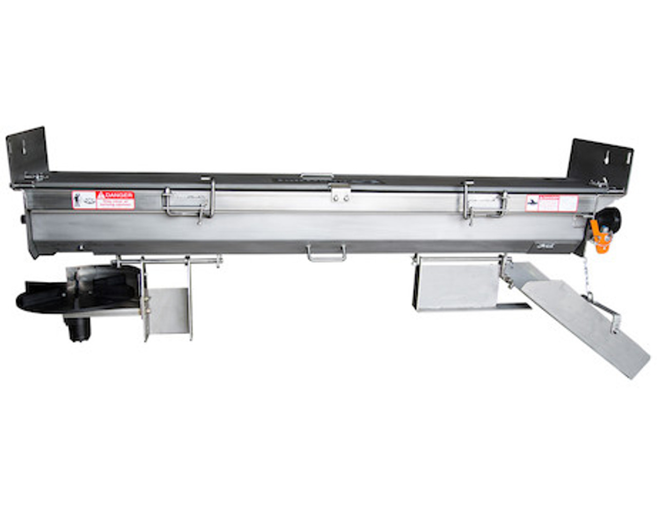 92452SSA BUYERS SALTDOGG STAINLESS STEEL HEAVY DUTY HYDRAULIC UNDER TAILGATE SALT SPREADER An optional berm chute (part #92451SS) is also available for passenger side discharge.
