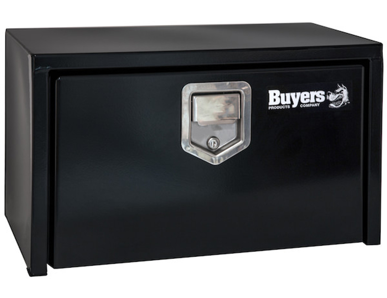 "1702100 BUYERS PRODUCTS BLACK STEEL UNDERBODY TRUCK TOOLBOX WITH PADDLE LATCH 18""HX18""DX24""W"