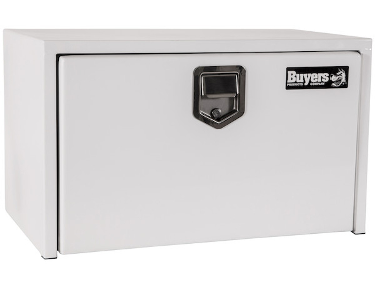 "1702203 BUYERS PRODUCTS WHITE STEEL UNDERBODY TRUCK TOOLBOX WITH PADDLE LATCH 18""HX18""DX30""W"