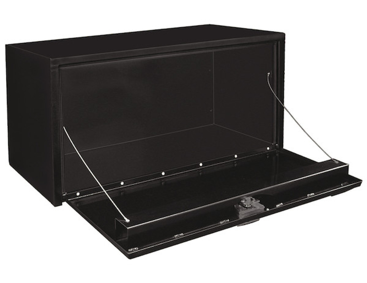 "1702300 BUYERS PRODUCTS BLACK STEEL UNDERBODY TRUCK TOOLBOX WITH T-LATCH 18""HX18""DX24""W"