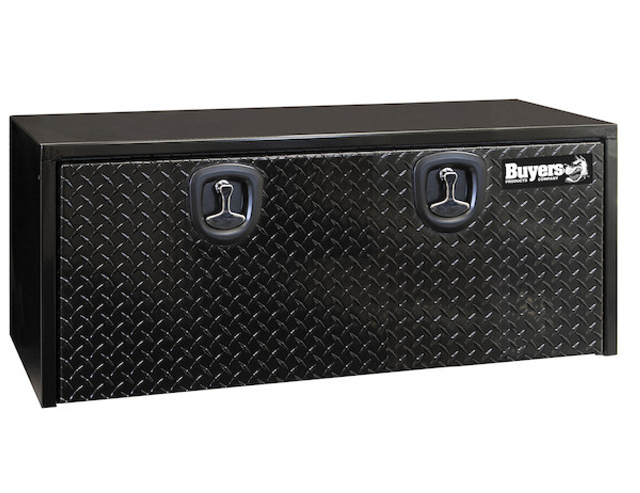 "1702510 BUYERS PRODUCTS BLACK STEEL UNDERBODY TRUCK TOOLBOX WITH ALUMINUM DOOR 18""HX18""DX48""W"
