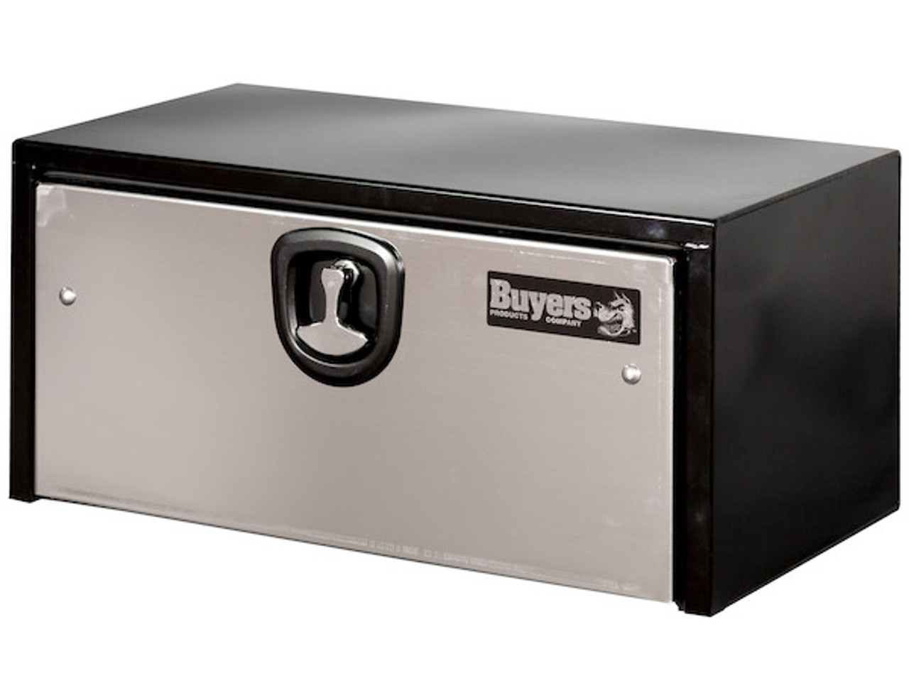 1702705 BUYERS PRODUCTS BLACK STEEL UNDERBODY TRUCK BOX WITH STAINLESS STEEL DOOR TOOLBOX