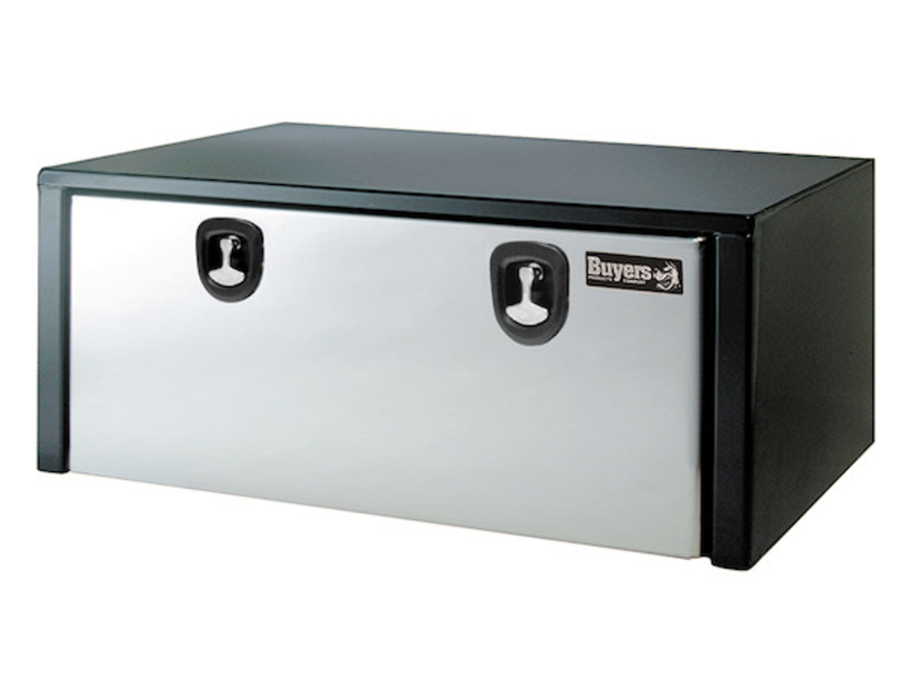 1702710 BUYERS PRODUCTS BLACK STEEL UNDERBODY TRUCK BOX WITH STAINLESS STEEL DOOR TOOLBOX