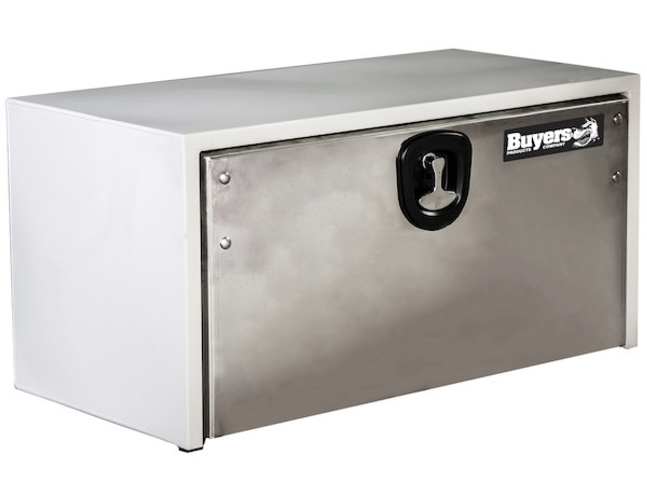 1702815 BUYERS PRODUCTS WHITE STEEL UNDERBODY TRUCK BOX WITH STAINLESS DOOR TOOLBOX
