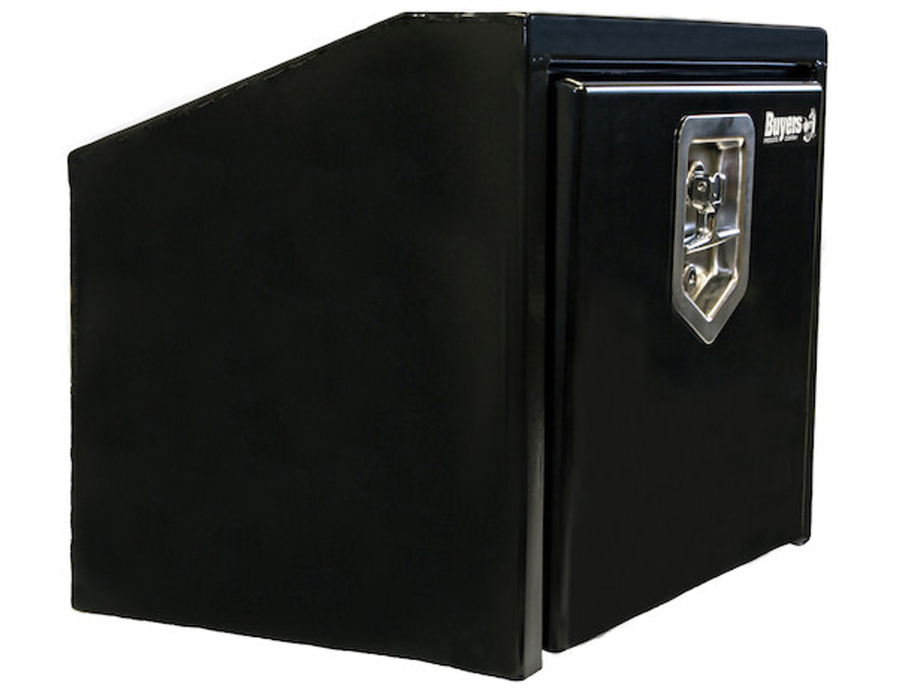 """1703352 BUYERS PRODUCTS BLACK STEEL UNDERBODY TRUCK TOOLBOX WITH SLANTED BACK 14""""HX12""""DX24""""W"""