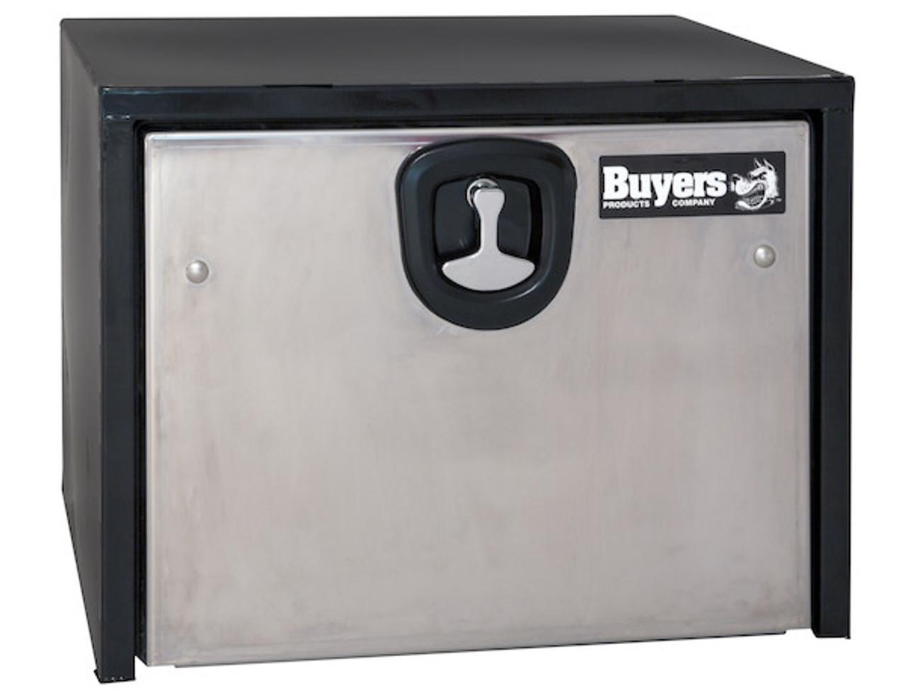 """1703700 BUYERS PRODUCTS BLACK STEEL UNDERBODY TRUCK TOOLBOX WITH STAINLESS STEEL DOOR 14""""HX16""""DX24""""W"""