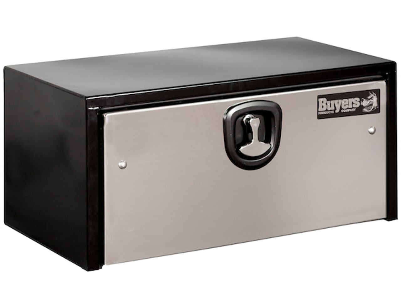 1703705 BUYERS PRODUCTS BLACK STEEL UNDERBODY TRUCK BOX WITH STAINLESS STEEL DOOR TOOLBOX