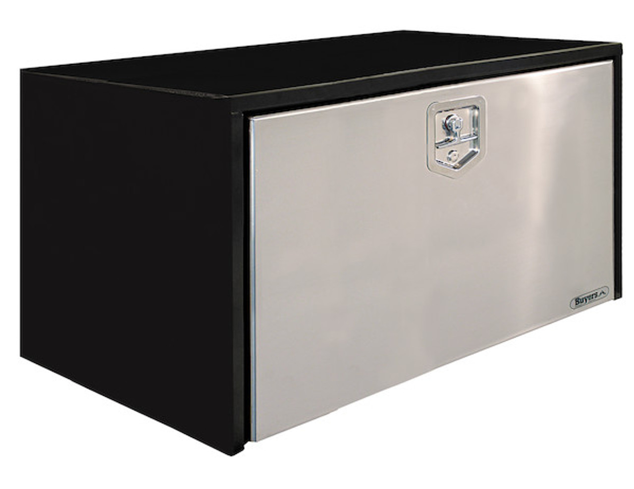 """1704705 BUYERS PRODUCTS BLACK STEEL UNDERBODY TRUCK TOOLBOX WITH STAINLESS STEEL DOOR 24""""HX24""""DX36""""W"""