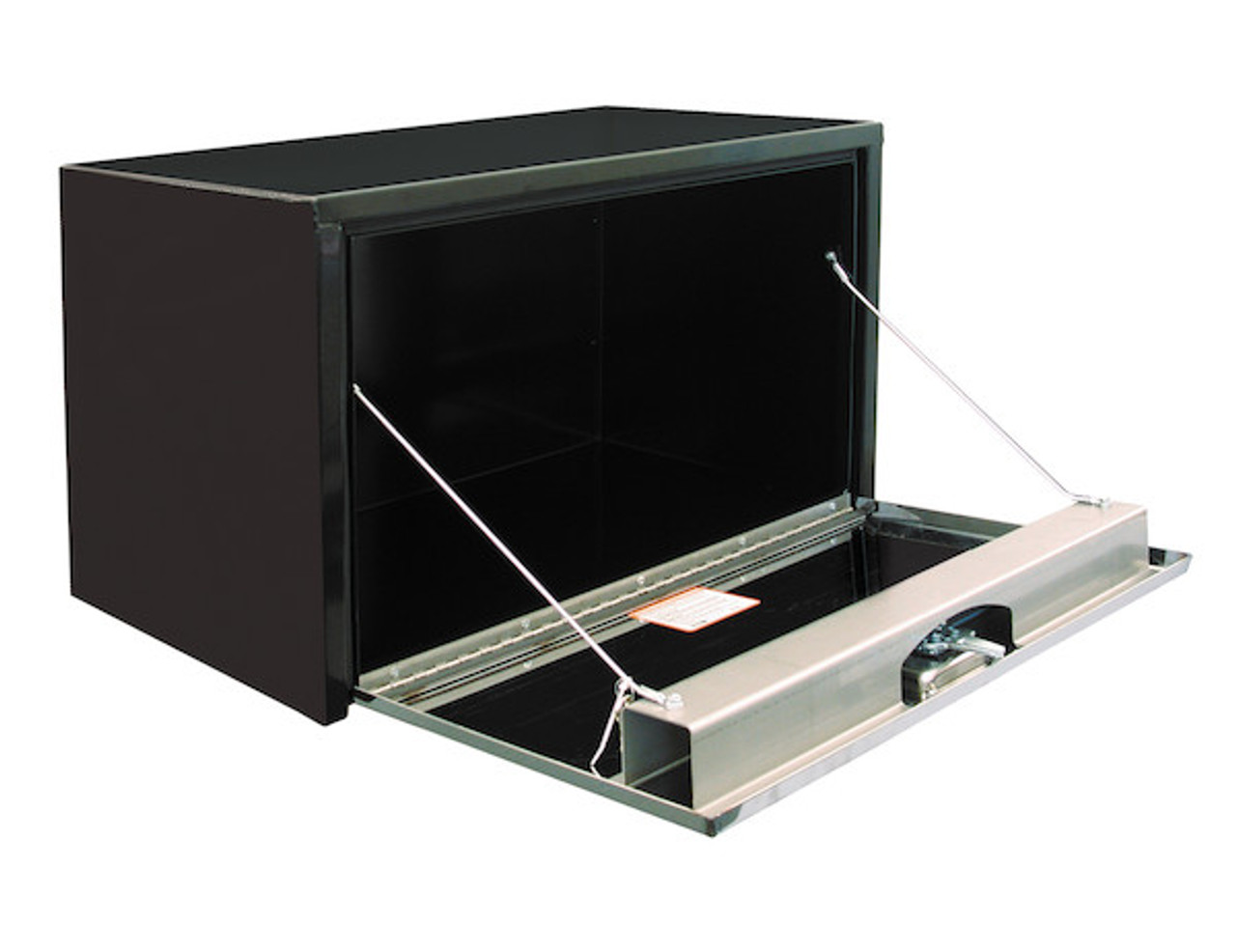 1704705 BUYERS PRODUCTS BLACK STEEL UNDERBODY TRUCK BOX WITH STAINLESS STEEL DOOR TOOLBOX